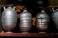 桜岳陶芸の銀彩の徳利